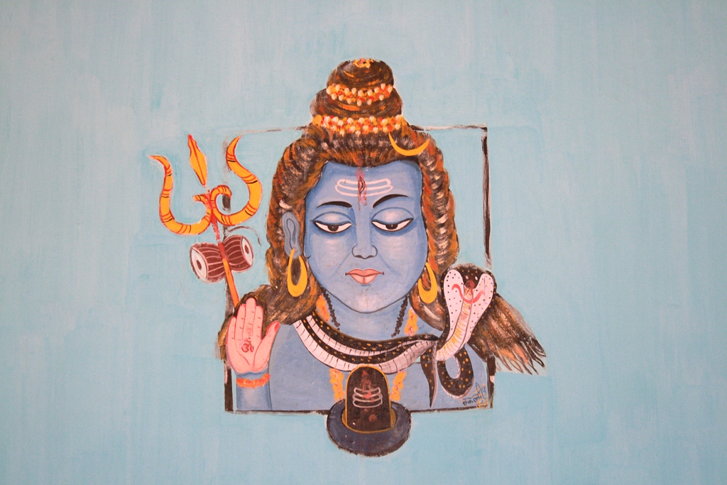 A painted Shiva in a house, Jamui, Bihar