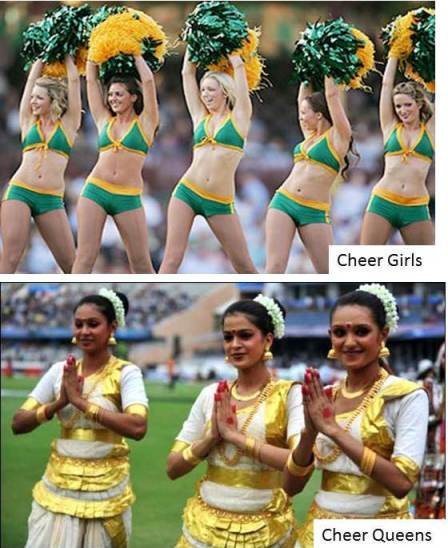 Cheer Girls & Cheer Queens of the IPL Cricket (Image: www.bollywoodgames.com , www.mazematlo.com