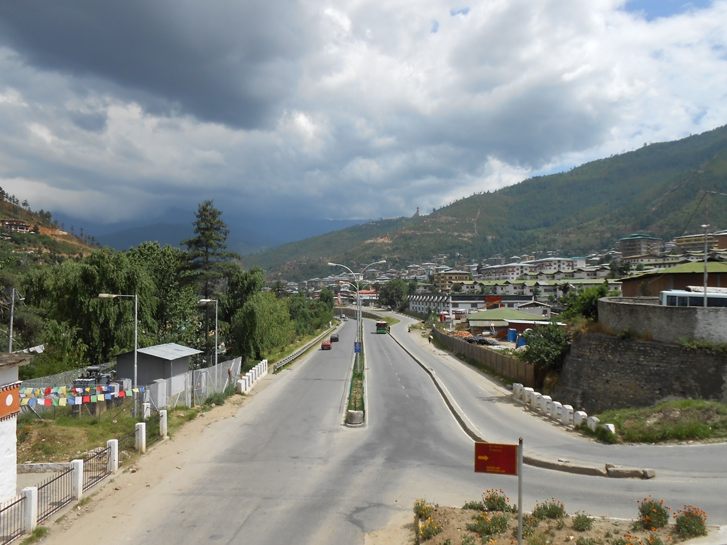 Entering the Thimpu Valley, On its main road which leads inside the city
