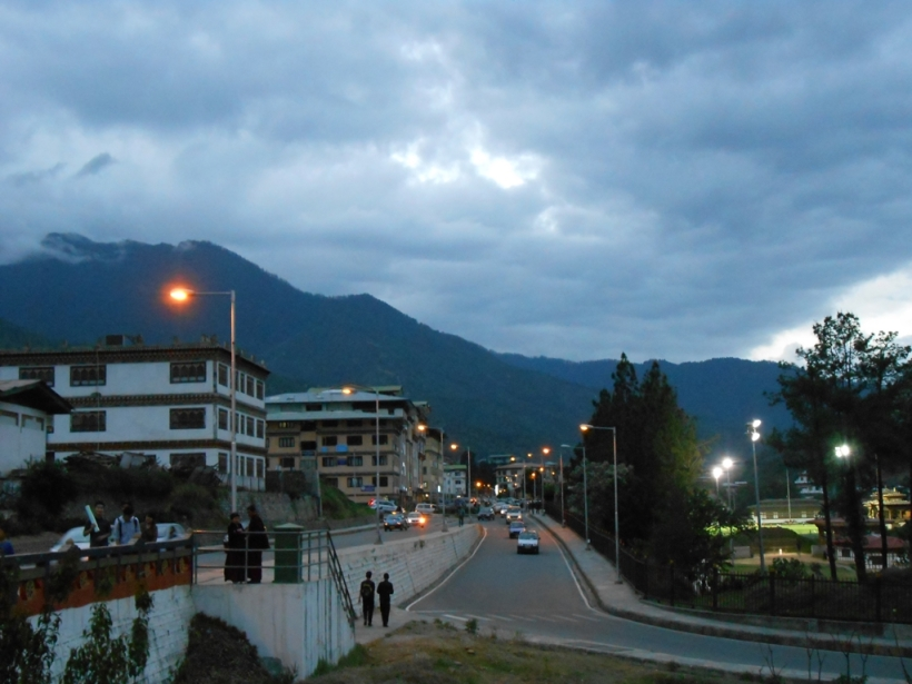 As the city settles to a cold and breezy evening. Thimpu, Bhutan