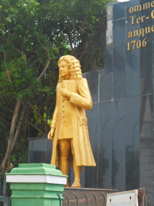A statue of Bartholomäus Ziegenbalg (July 10, 1682 – February 23, 1719)