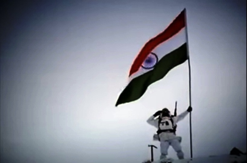 A still from Bharatbala Productions' Anthem based on Indian Army and shot on the Siachen Glacier. Though, idea of nationalism based on military might seems problematic, I like this video for the presentation of sheer challenge that the soldiers are pitched against guarding the borders at that altitude. (Video -