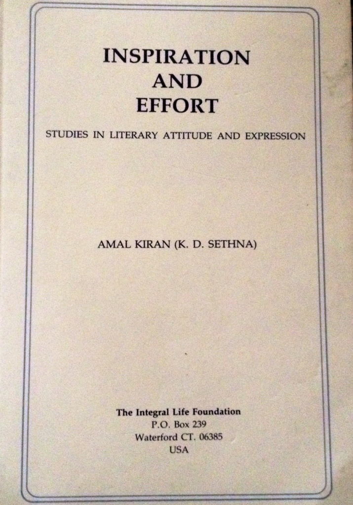 "Amal Kiran's book ""Inspiration and Effort"""