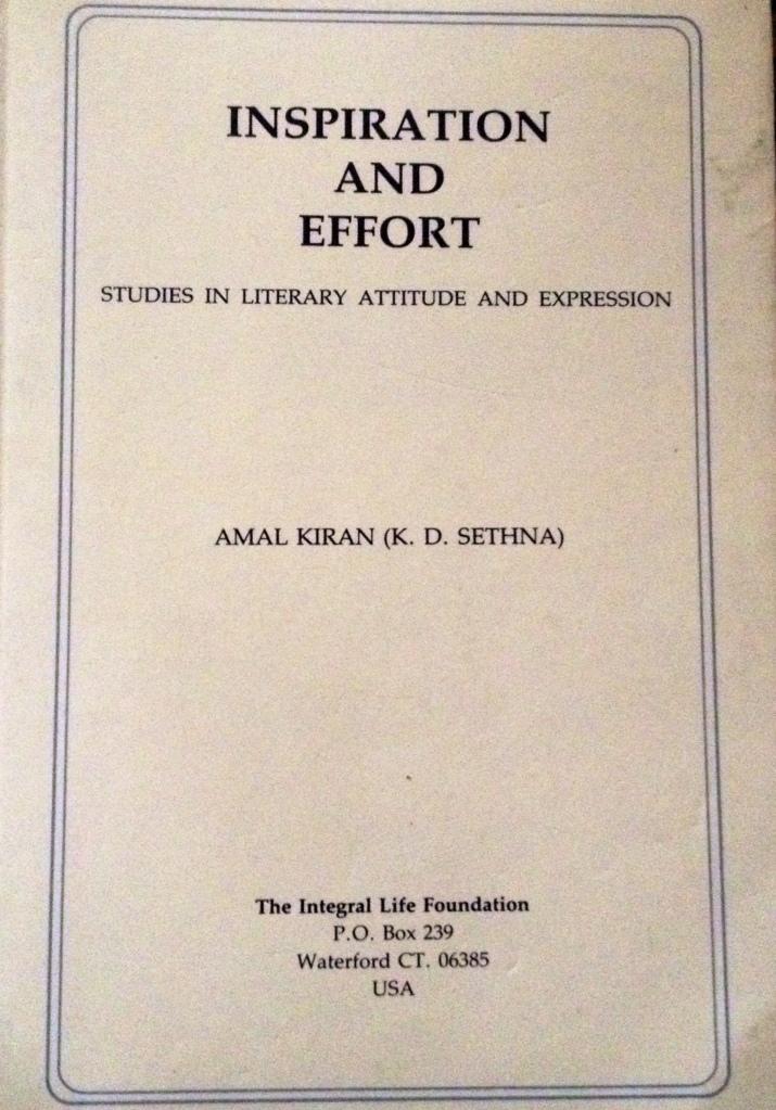 "Amal Kiran's book ""Inspiration and Effort"""