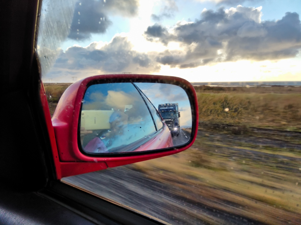 Truckers on the highway to Akureyri