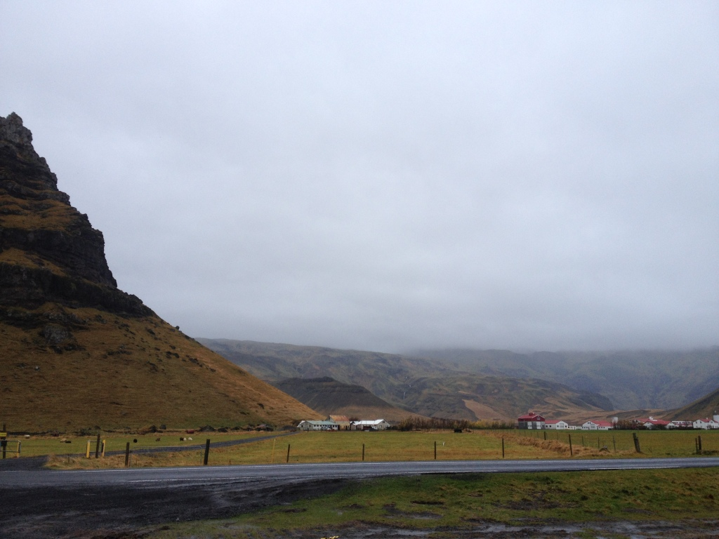 The flat hill top in the distance is Eyjafjallajökull volcano